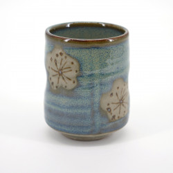 japanese blue and beige traditional teacup plum flower CHRASHI UME
