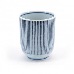 tasse blanche japonaise ligne bleues SEIJI TOKUSA