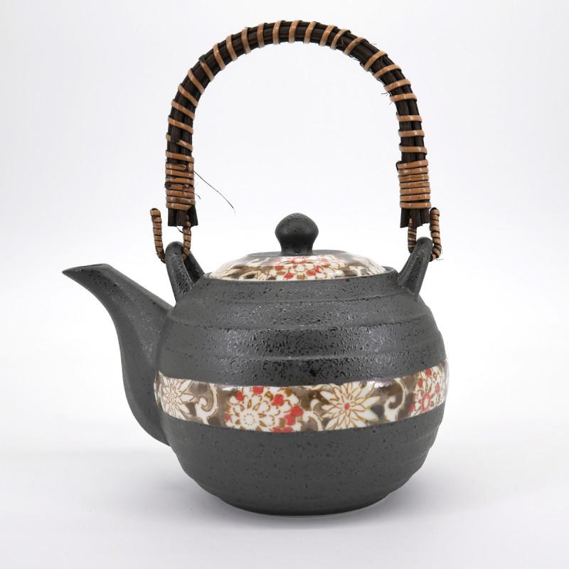 japanese grey flower patterns teapot with handle 0,6L HEIAN KARAKUSA