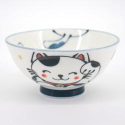 petit bol blanc japonais chat manekineko Ø10,5cm KURO MANEKINEKO