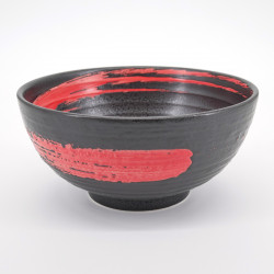 japanese round black red brush bowl SHU ARASHI KUROMIKAGE