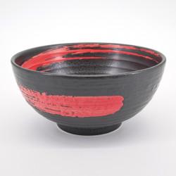 japanese round black red brush bowl SHU ARASHI KUROMIKAGE