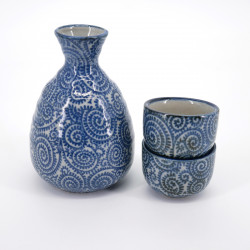 service à saké bleu bouteille et 2 tasses TAKO KARAKUSA