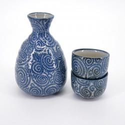 sake service 1 bottle and 2 cups, TAKO KARAKUSA, blue
