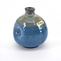 vase bleu beige soliflore japonais H9xØ8cm NAMAKORYÛ MINGEI HANABIN
