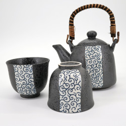 japanese teapot 2 teacups set blue patterns CHAKI KURO EDO KARAKUSA