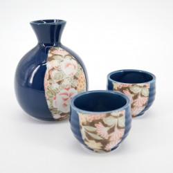 service à saké bleu bouteille 2 tasses fleurs SHUKI GUNJÔ HANA YÛZEN