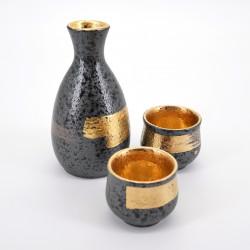service à saké noir et doré avec 2 tasses KUROGANE KIN HAKEME