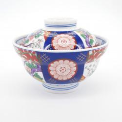 Tazón de cerámica japonés con tapa, SOME NISHIKI MADORI, Arita