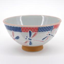 japanese red blue dragonfly bowl Ø11,5cm NAKAHIRA ICHIMATSU TOMBO