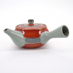 Japanese ceramic teapot, SHUMAKI KINSAI 0,3L, red and gray