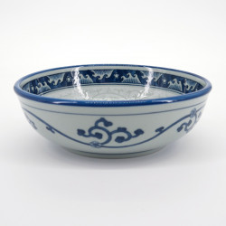 japanese blue and grey bowl Ø16,3xH5,5cm with patterns NAMI KARAKUSA