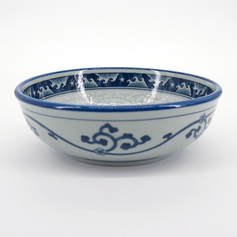 bol japonais bleu et gris Ø16,3xH5,5cm motifs NAMI KARAKUSA