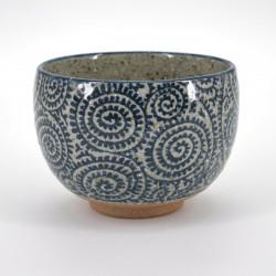 bol à riz japonais en céramique, TAKO KARAKUSA, bleu, marron