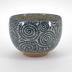 Japanese ceramic rice bowl, TAKO KARAKUSA, blue, brown