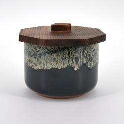 Japanese ceramic rice bowl, YUZU TENMOKU, black