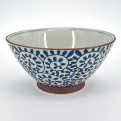 japanese white râmen bowl Ø18cm with blue patterns TAKO KARAKUSA