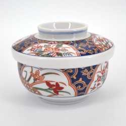 Japanese ceramic rice bowl, KINSAI NISHIKI KUSABANA, golden flowers