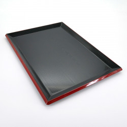 rectangular tray, FUJI NAGATE MOKUME, black