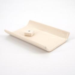 Japanese flat ceramic incense holder, YUKARI, white or brown