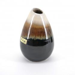 vase japonais soliflore H10,1xØ6,4cm marron et beige MINGEI HANABIN