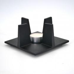 chauffe-théière réchaud en fonte noir carré, SHIN ORI, taille au choix