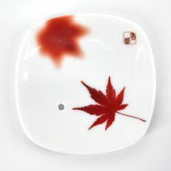 Japanese square ceramic incense holder, YUME MOMIJI, maple leaf