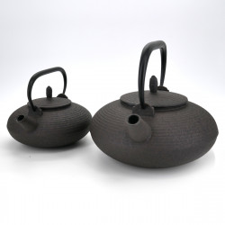 théière ovale en fonte prestige japonaise, CHÛSHIN KÔBÔ ITOME, marron