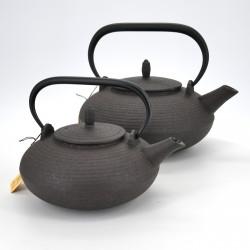 Japanese prestige oval cast iron teapot, CHÛSHIN KÔBÔ ITOME, Brown