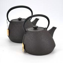 japanese wide cast iron teapot, CHÛSHIN KÔBÔ SHIYAEN, Brown