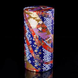 Japanese blue tea box in washi paper, YUZEN RIBON, 200 g