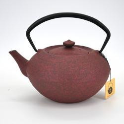 Japanese prestige oval cast iron teapot, CHÛSHIN KÔBÔ HIRATSUBO 0,7lt, red