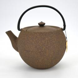 japanese round cast iron teapot, CHÛSHIN KÔBÔ MARUTAMA, yellow