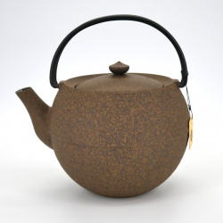 Large round Japanese prestige cast iron teapot, CHÛSHIN KÔBÔ MARUTAMA, yellow