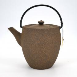 Large Japanese prestige high cast iron teapot, CHÛSHIN KÔBÔ MARUTSUTSU, yellow