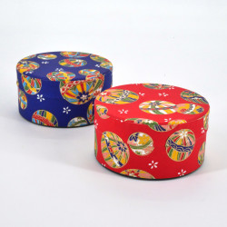 Japanese tea box made of washi paper, BALLONS, Red and blue