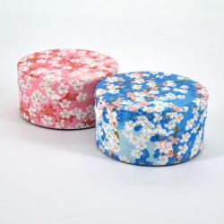 boîte à thé japonaise en papier washi plate 40g rose bleu au choix