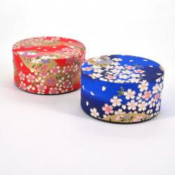 boîte à thé japonaise en papier washi plate 40g rouge bleu au choix SAKURA