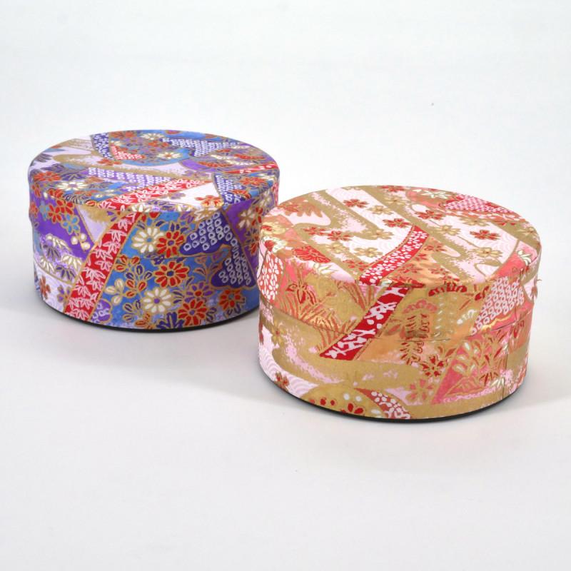boîte à thé japonaise en papier washi plate 40g violet rose au choix YAMA