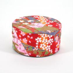 boîte à thé japonaise en papier washi plate 40g rouge KAWA