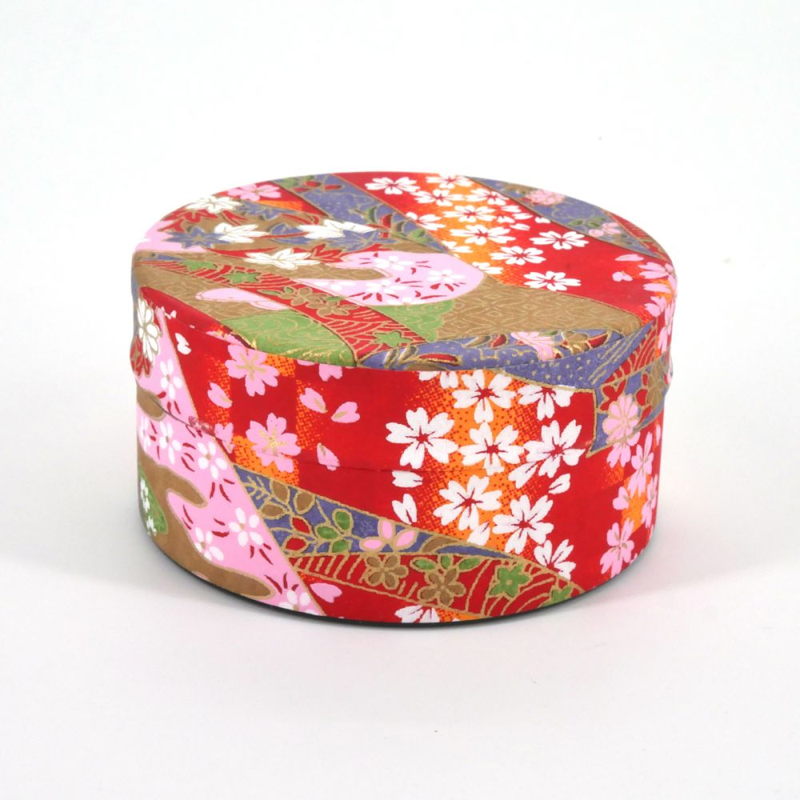 Japanese tea box washi paper flat 40g red KAWA
