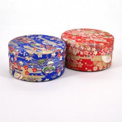 boîte à thé japonaise en papier washi plate 40g rouge bleu au choix