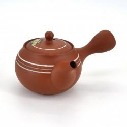 japanese red design white lines terracotta teapot SHUNJÛ