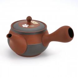 japanese red brown terracotta teapot with sakura flowers TÔYÔ