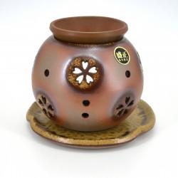 Brûle-parfum japonais marron pour huiles aromathérapie MORIMASA