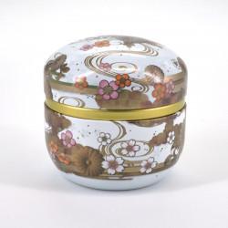White Japanese teabox in metal SUZUKO KIKUSUI