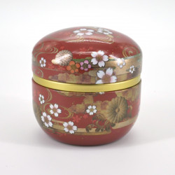 boîte à thé marron en métal SUZUKO KIKUSUI