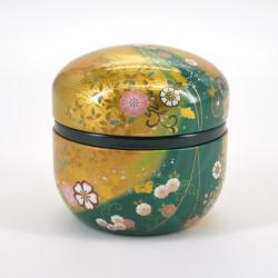 Japanese green golden teabox in metal SUZUKO HANAFUBUKI