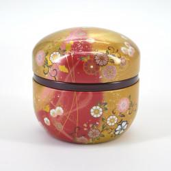 boîte à thé rouge dorée en métal SUZUKO HANAFUBUKI