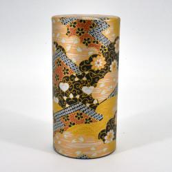 Japanese black and gold tea caddy in washi paper, KOGANE, 200 g